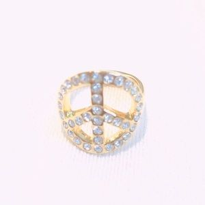 EUC Coach Clear Rhinestone Peace Sign Ring